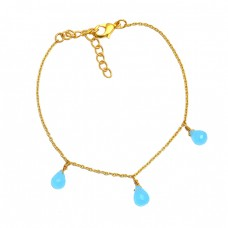 Light Weight Jewelry Aqua Chalcedony Gemstone 925 Sterling Silver Gold Plated Bracelet