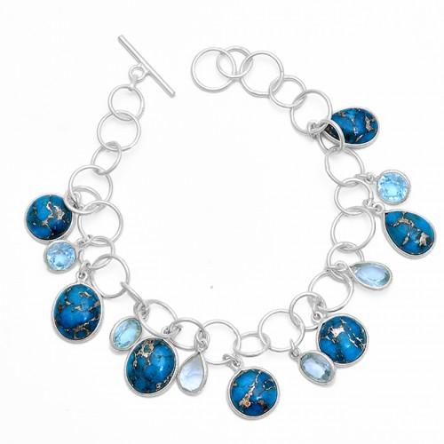 Topaz Blue Copper Turquoise Gemstone 925 Sterling Silver Bracelet
