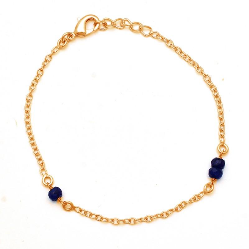 Blue Sapphire Roundel Beads Gemstone 925 Sterling Silver Bracelet