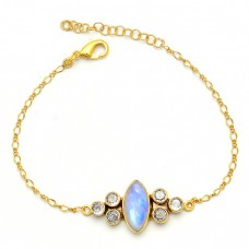 Rainbow Moonstone Cz Gemstone 925 Sterling Silver Gold Plated Bracelet
