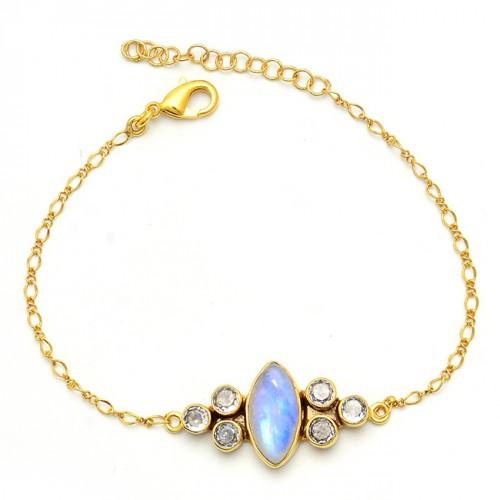Rainbow Moonstone Cz Gemstone 925 Sterling Silver Gold Plated Bracelet