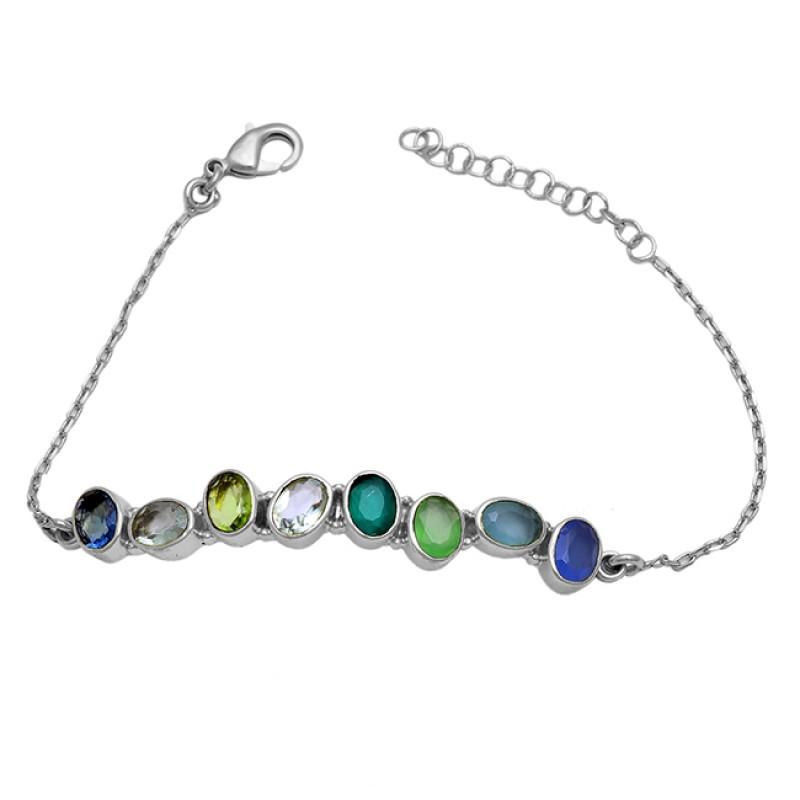 Oval Shape Multi Color Gemstone 925 Sterlig Silver Gold Plated Bracelet