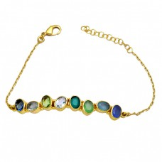 Oval Shape Multi Color Gemstone 925 Sterlig Silver Gold Plated Bracelet