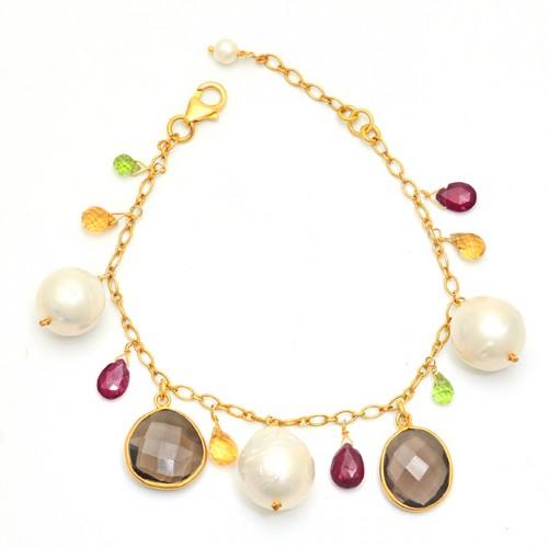 925 Sterling Silver Round Oval Pear Shape Gemstone Gold Plated Bracelet