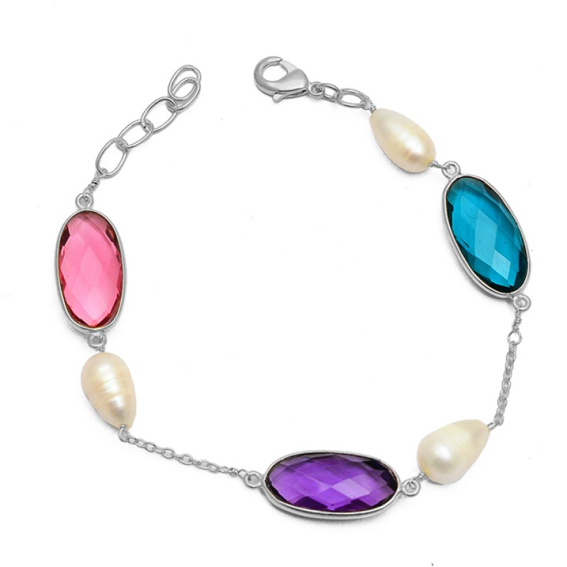 Pink Amethyst Blue Color Quartz Pearl Gemstone 925 Sterling Silver Gold Plated Bracelet Jewelry