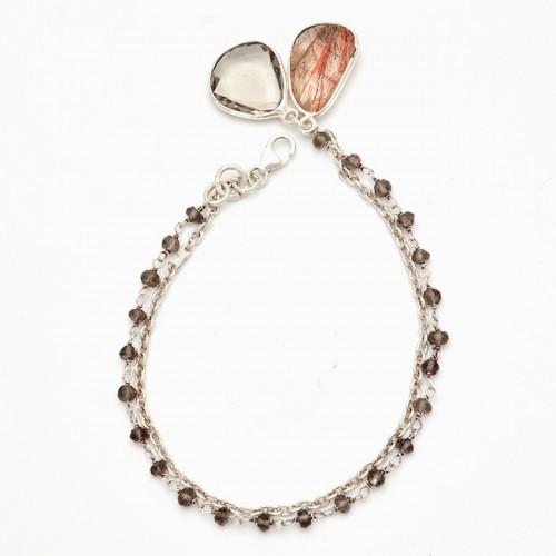 Smoky Quartz Rutile Quartz Gemstone 925 Sterling Silver Bracelet