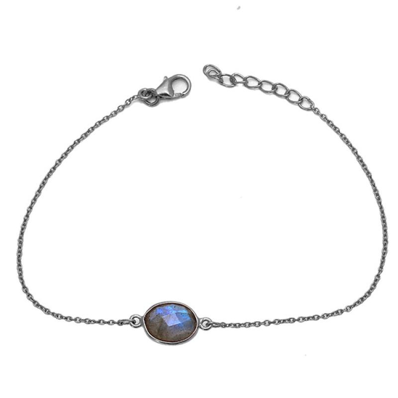 Oval Shape Labradorite 925 Sterling Silver Gold Plated Bracelet Jewelry