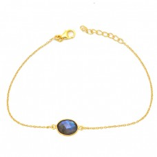 Oval Shape Labradorite 925 Sterling Silver Gold Plated Bracelet Jewelry
