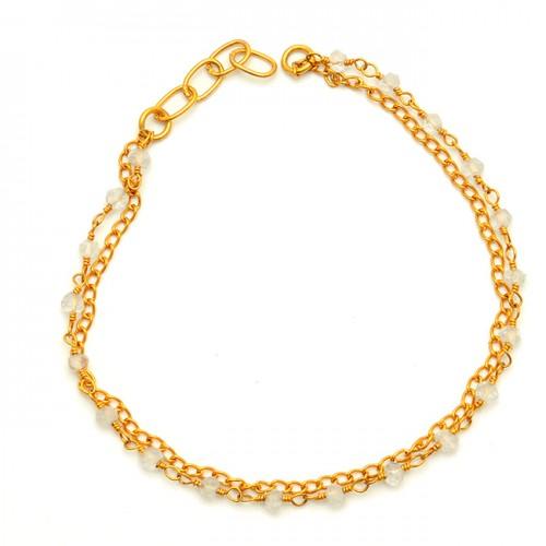 Crystal Quartz Bead Shape Gemstone 925 Sterling Silver Gold Plated Bracelet