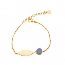 Round Shape Labraodorite Gemstone 925 Silver Gold Plated Bracelet