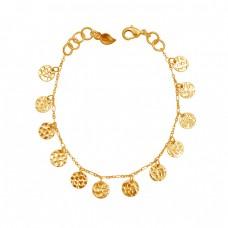 Plain Handmade Designer Gold Plated 925 Silver Jewelry Bracelet