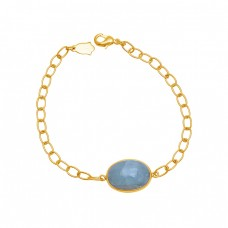 Oval Shape Aquamarine Gemstone 925 Silver Jewelry Chain Bracelet
