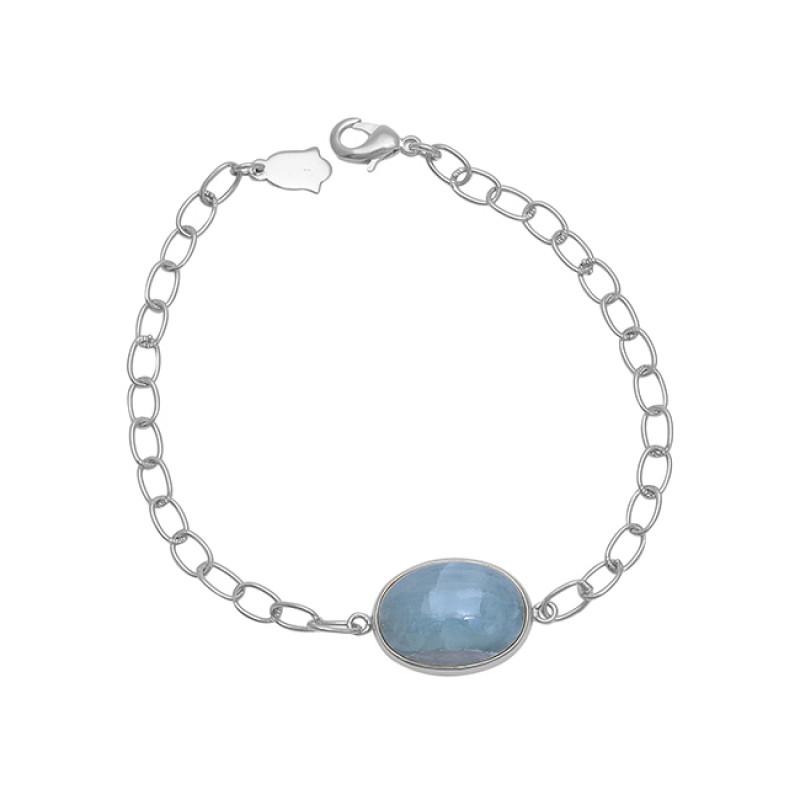 Oval Shape Aquamarine Gemstone 925 Silver Jewelry Chain Bracelet