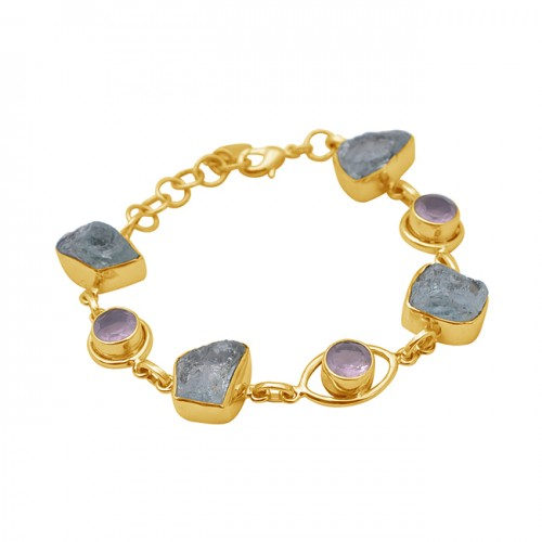 Raw Material Gemstone 925 Sterling Silver Jewelry Gold Plated Bracelet