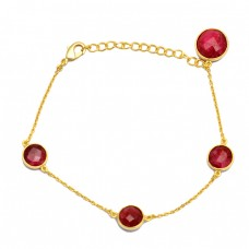 Bezel Setting Round Ruby Gemstone 925 Sterling Silver Gold Plated Bracelet Jewelry