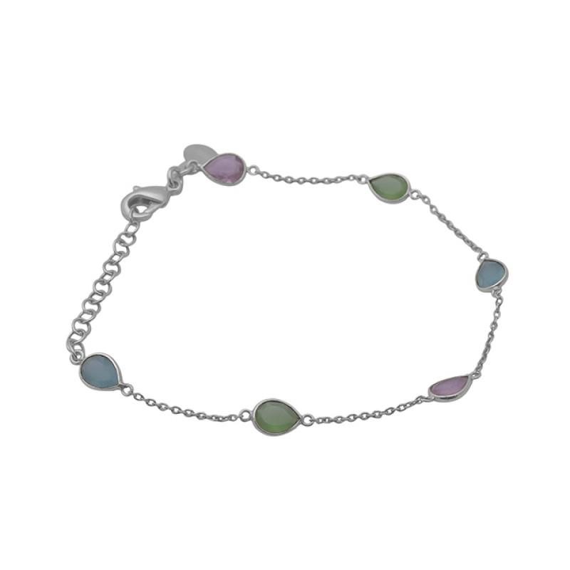 Pear Shape Gemstone Bezel Setting 925 Sterling Silver Jewelry Bracelet