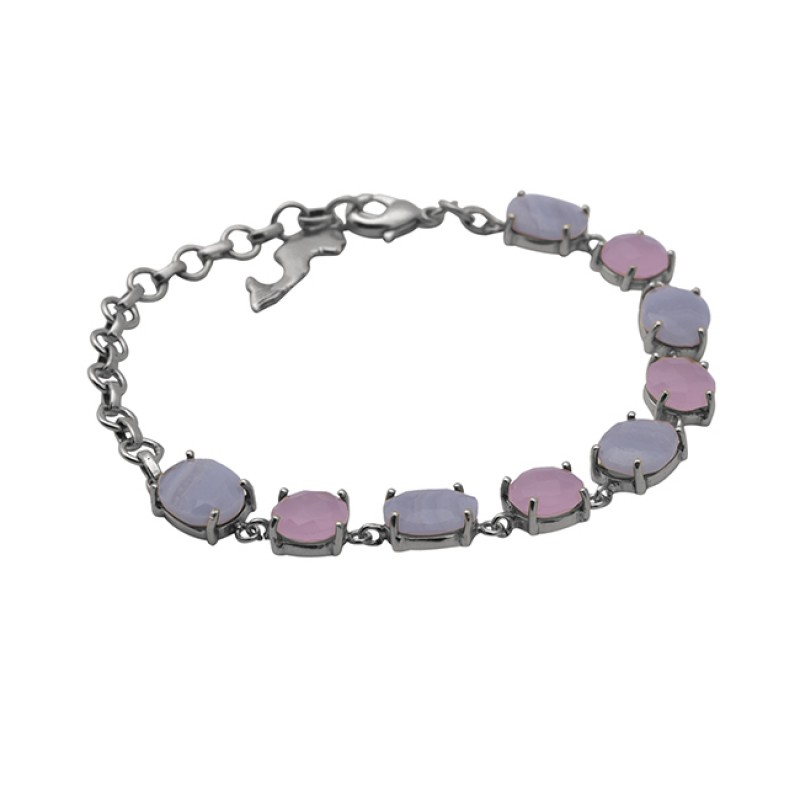 Prong Setting Gemstone 925 Sterling Silver Jewelry Gold Plated Bracelet