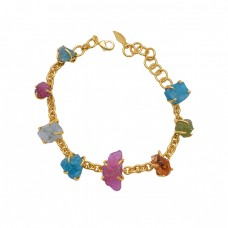 925 Sterling Silver Jewelry Raw Material Gemstone Gold Plated Bracelet