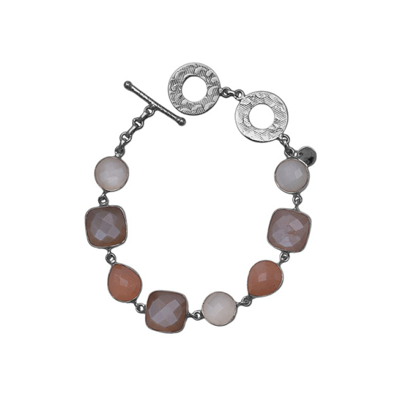 925 Sterling Silver Jewelry Peach White Moonstone Gold Plated Bracelet