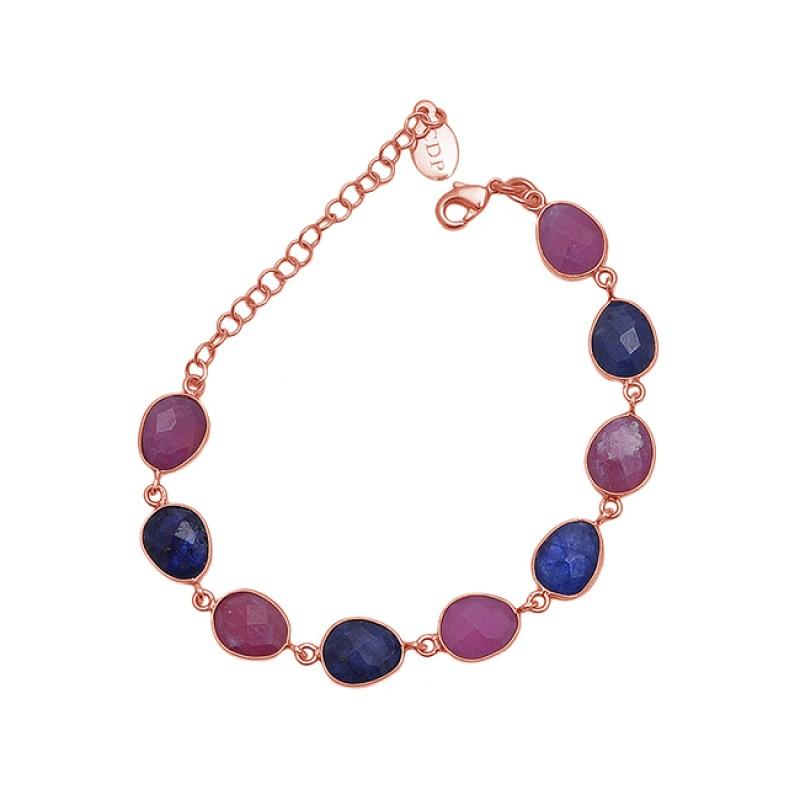 Oval Shape Ruby Sapphire Gemstone 925 Sterling Silver Jewelry Bracelet