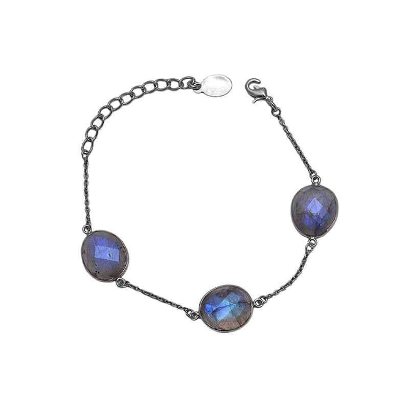 Oval Shape Labradorite Gemstone 925 Sterling Silver Jewelry Bracelet