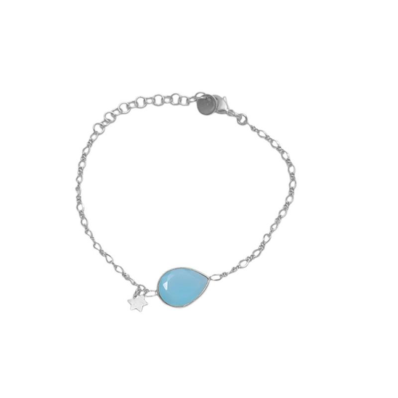 Pear Shape Aqua Chalcedony Gemstone 925 Sterling Silver Jewelry Bracelet