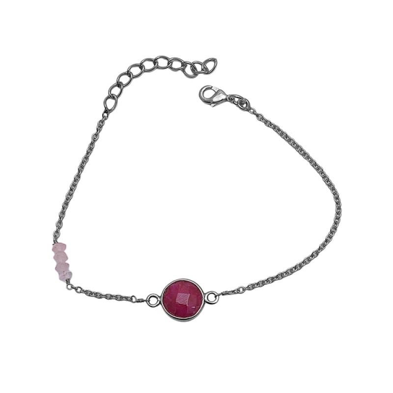 Ruby Rose Quartz Gemstone 925 Sterling Silver Jewelry Bracelet