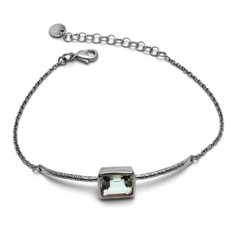 Rectangle Shape Green Amethyst Gemstone 925 Silver Jewelry Bracelet