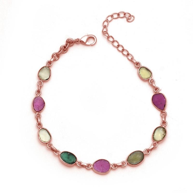 Oval Shape Tourmaline Gemstone 925 Sterling Silver Jewelry Bracelet