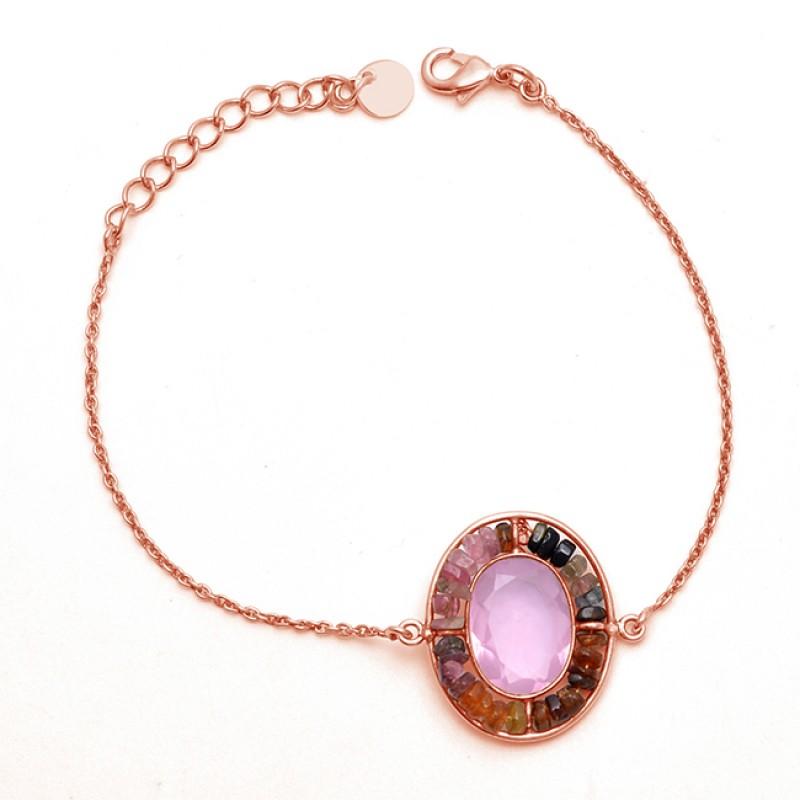 Rose Quartz Tourmaline Gemstone 925 Sterling Silver Jewelry Bracelet