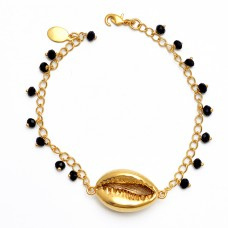 Black Onyx Gemstone 925 Sterling Silver Jewelry Gold Plated Bracelet