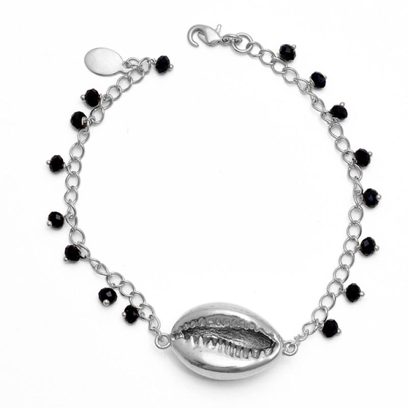 Black Onyx Gemstone 925 Sterling Silver Jewelry Gold Plated Bracelet