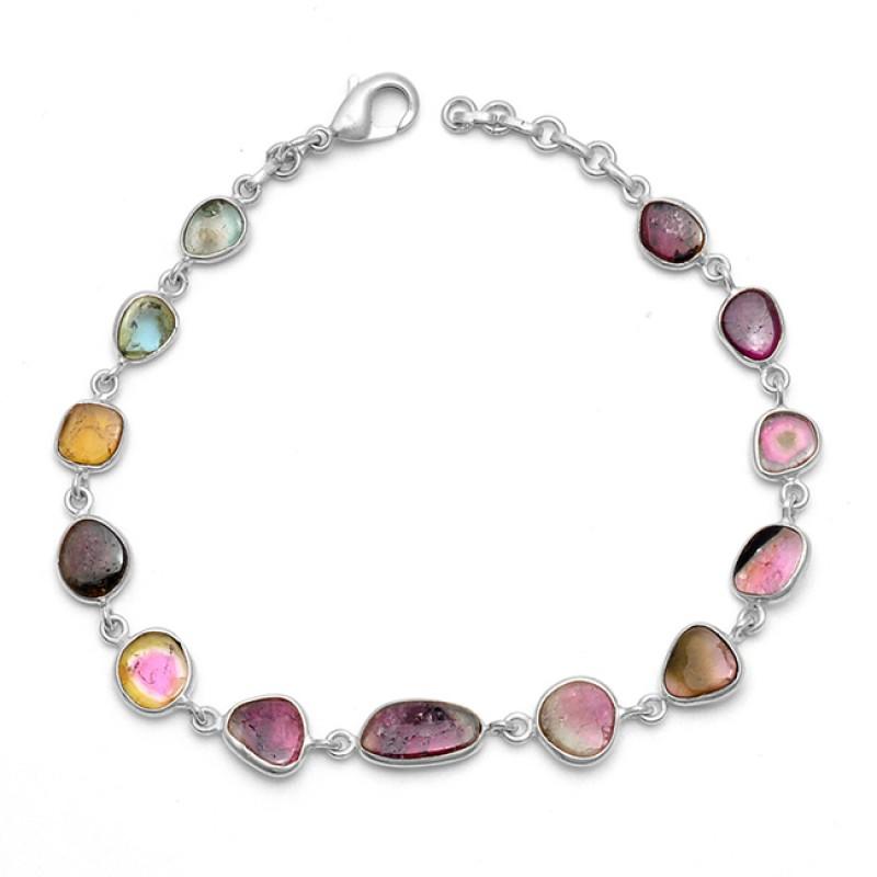Fancy Shape Tourmaline Gemstone 925 Sterling Silver Jewelry Bracelet
