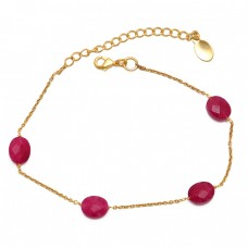 Oval shape Ruby Gemstone 925 Sterling Silver Jewelry Chain Bracelet