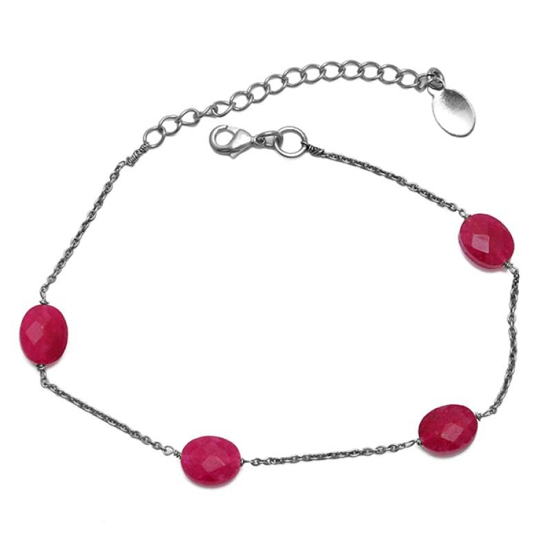 Oval shape Ruby Gemstone 925 Sterling Silver Jewelry Chain Bracelet