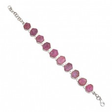 Raw Material Ruby Rough Gemstone 925 Sterling Silver Handcrafted Bracelet Jewelry