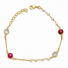 Round Shape Pear Ruby Moonstone 925 Sterling Silver Jewelry Bracelet