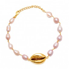 Plain Oval Shape Pearl Gemstone 925 Sterling Silver Jewelry Bracelet