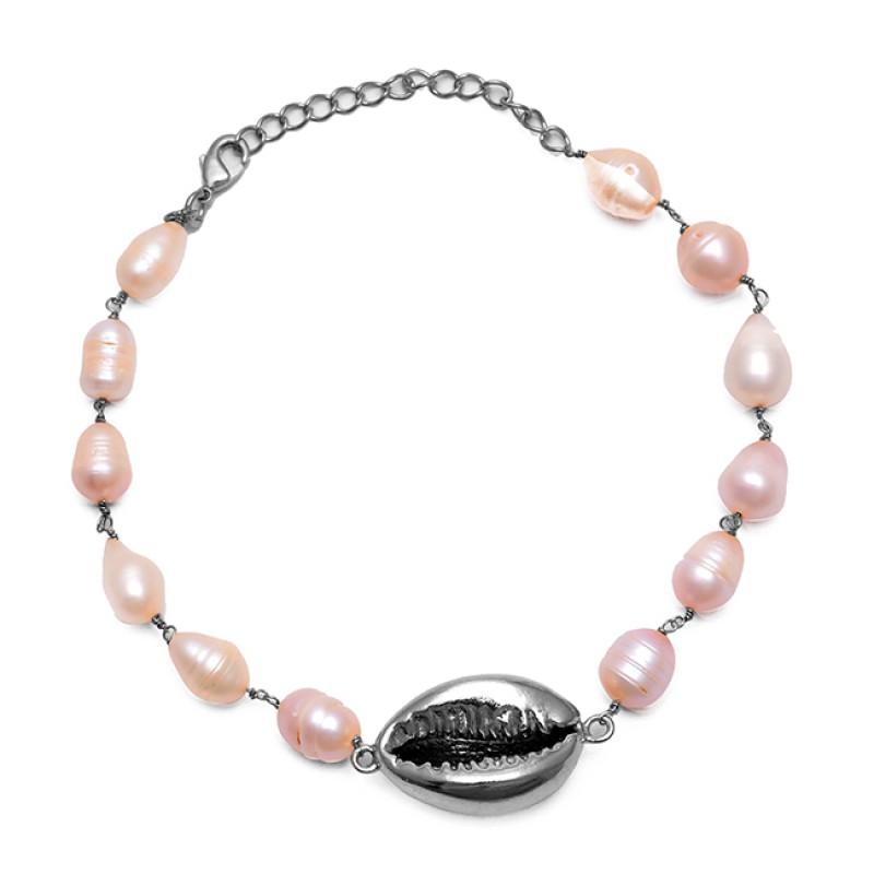 Plain Oval Shape Pearl Gemstone 925 Sterling Silver Jewelry Bracelet