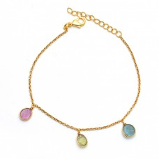 Multi Tourmaline Gemstone 925 Sterling Silver Jewelry Gold Plated Bracelet