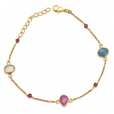 Tourmaline Gemstone 925 Sterling Silver Jewelry Gold Plated Bracelet