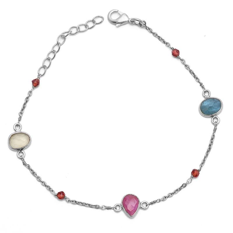 Tourmaline Gemstone 925 Sterling Silver Jewelry Gold Plated Bracelet