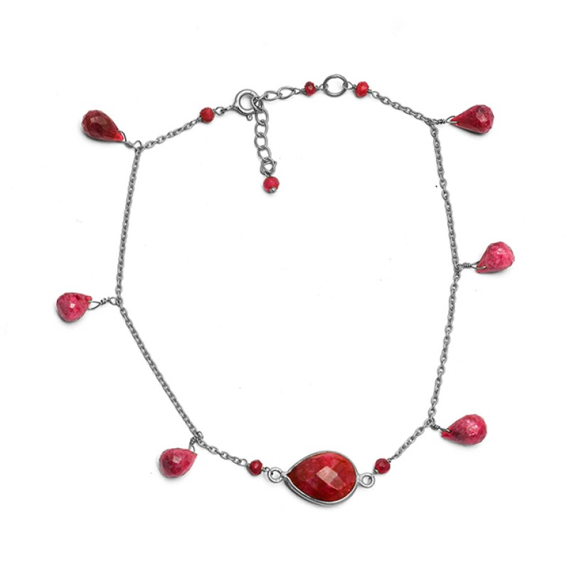 Ruby Pear Drops Roundel Beads Shape Gemstone 925 Sterling Silver Gold Plated Bracelet Jewelry