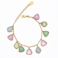 Fancy Shape Chalcedony Gemstone 925 Sterling Silver Jewelry Bracelet