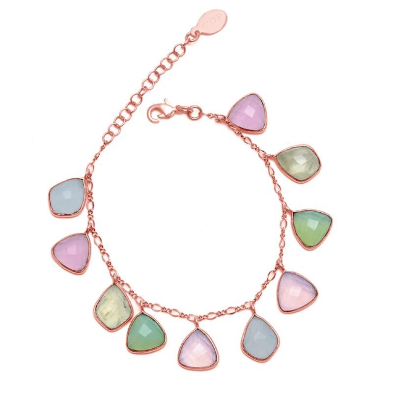 Fancy Shape Chalcedony Gemstone 925 Sterling Silver Jewelry Bracelet
