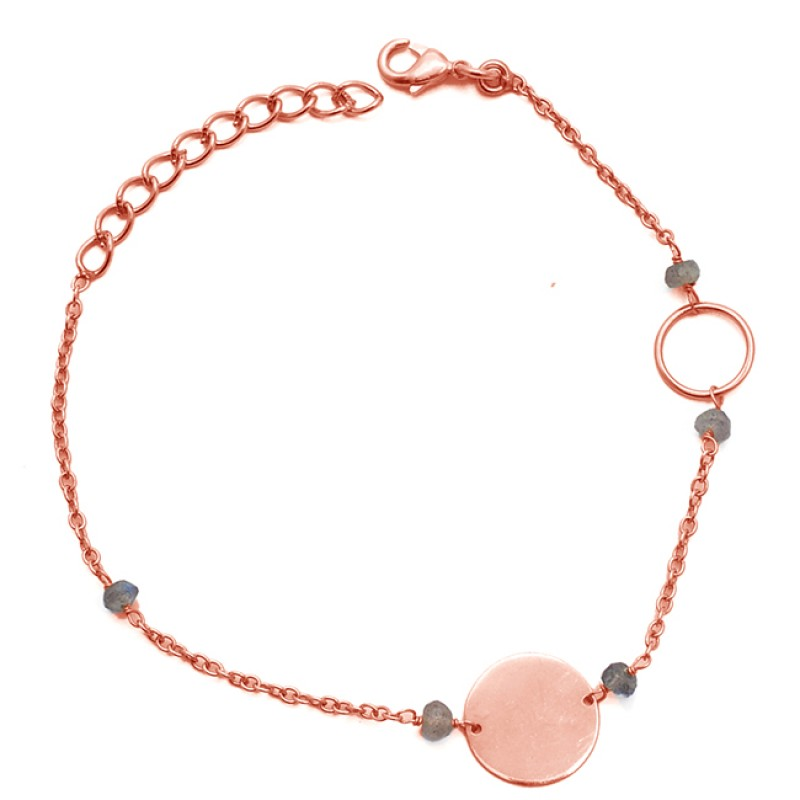 Beads Shape Labradorite Gemstone 925 Sterling Silver Jewelry Bracelet