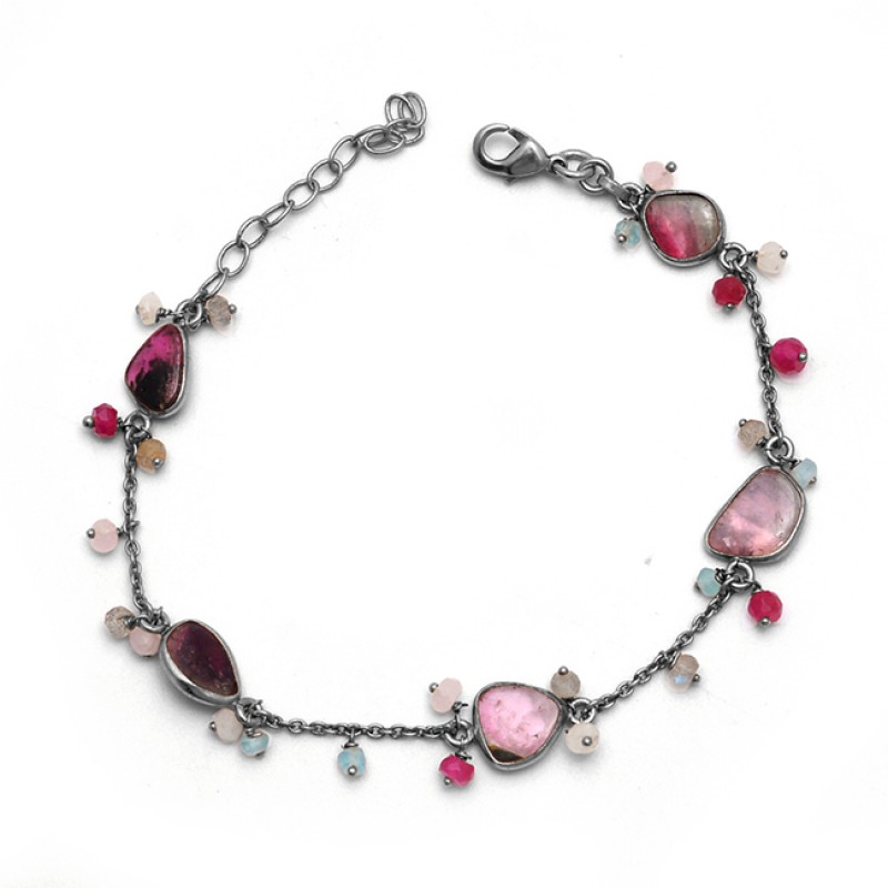 Multi Tourmaline Gemstone 925 Solid Silver Jewelry Gold Plated Bracelet