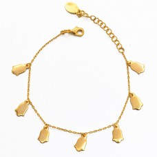 Handmade Designer Plain Gold Plated 925 Sterling Silver Jewelry Bracelet