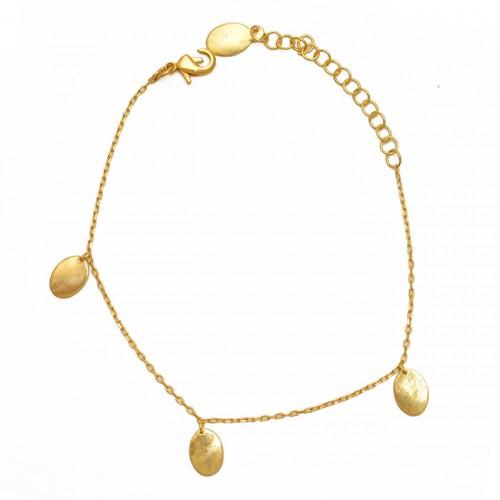 925 Sterling Silver Jewelry Plain Handmade Designer Gold Plated Bracelet