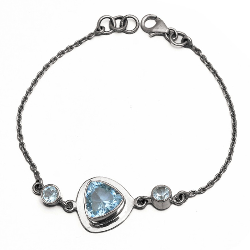 Handcrafted Triangle Round Shape Blue Topaz Gemstone 925 Sterling Silver Bracelet Jewelry